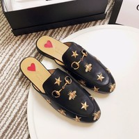 Gucci Princetown Embroidered Leather Slipper #1622
