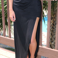 Away From The Crowd High Low Tulip Style Black Maxi Skirt