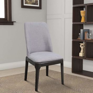 Linen Upholstered Wooden Side Chair with Curved Backrest and Block Legs, Set of 2, Gray-73172 By Casagear Home