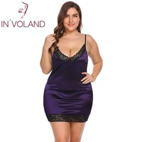 IN'VOLAND Plus Size Women Sleepwear Sexy Lingerie Dress XL-5XL Robe Night Dress Lace Stretchy Satin Babydoll Chemise Nightgown