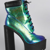 Iridescent Lug Sole Lace Up Chunky Platform Heeled Ankle Boots