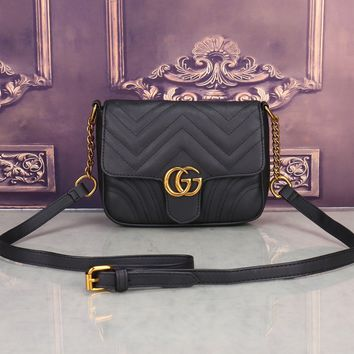"""""""Gucci"""" Women All-match Fashion Simple Double G Wave Stripe Quilted Small Metal Chain Single Shoulder Messenger Bag"""