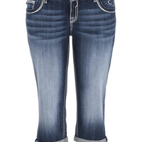 Plus Size - Vigoss Dark Wash Metallic Stitch Dallas Capri - Dark Sandblast