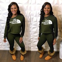 THE NORTH FACE Women Fashion Letter Pullover Sweater Pants Set Two-Piece Green