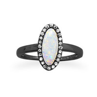 Ruthenium Plated Sterling Silver Oval White Opal and CZ Ring