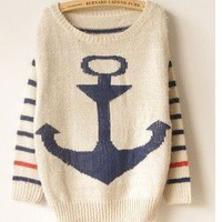 Military style anchor mohair sweet stripes bat shirt sweater BB01 from Fashion Accessories Store