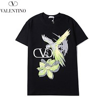Valentino New fashion letter bird floral print couple top t-shirt Black