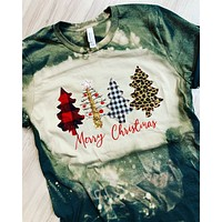Bleached Trees Christmas Shirt - Forest Green