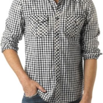 Silver Jeans Western Plaid Woven Button Down Shirt in Black and White