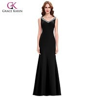 Grace Karin Slit Long Purple Red Mermaid Evening Dresses 2016 Formal Bodycon Gowns Sexy Backless Party Dress abendkleider 6061