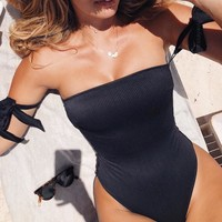 Summer New Fashion Solid Color Strapless One Piece Bikini Swimsuit Black
