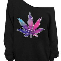 Awkwardstyles Pot Leaf Off the Shoulder Oversized Sweatshirt Galaxy Dope Weed
