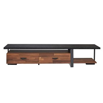 Benjara Metal Framed Wooden TV Stand Straight with Two Drawers and Open Shelf, Black and Brown