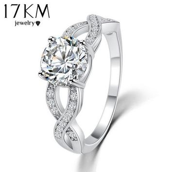 17KM Hollow Crystal Ring For Women Female Bijouterie Romantic Classic Luxury Unique DesignZircon Ring Punk Finger Rings Jewelry