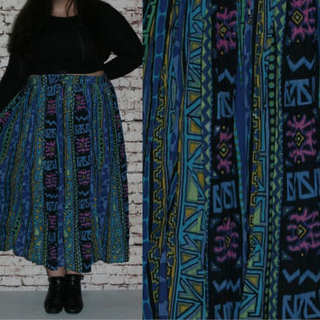 90s Plus Size High Wasit Crinkle Broomstick Skirt Ethnic Bight Colors Boho Festival Hipster Blue Black 80s 2X 3X  18 20 22 24 Witchy Cotton
