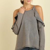 Grey Washed Ruffle Open Shoulder Top (final sale)