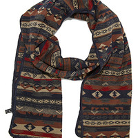 Mixed Fair Isle Pattern Scarf Navy/Brown One