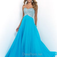 Blush Strapless Beaded Prom Dress 9934