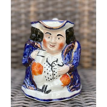 Antique English Staffordshire Copper Lustre Blue Toby Jug  Medium