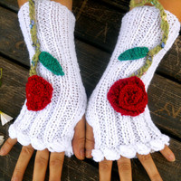 White Gloves, Knit Mittens, Bright Wrist Warmer Gloves, Winter Gloves, Gloves, Long Knitted Gloves, Women gloves, Arm Warmers, Floral Gloves