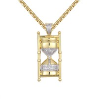 Custom 14k Gold Finish Hourglass Timer Antique Pendant Chain
