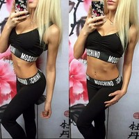 One-nice™ Moschino Fashion Tight Sport Vest Tank Top Pants Trousers Set Two-Piece