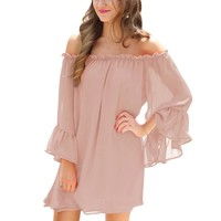 Breezy Casual Autumn Pink Chiffon Dresses