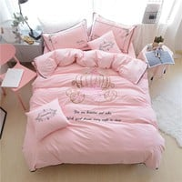 Papa&Mima Pink Crown Embroided Bedding Sets 4pcs Double Queen King Size Bedclothes 100%Cotton Bed sheet set Pillowcases