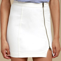 Free People This Way or That White Denim Mini Skirt