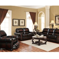 Top Grain Genuine Leather- The El Dorado Living Room Set - Mahogany