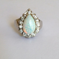 Vintage Sterling Silver White Opal and Diamond Estate Jewelry Ring