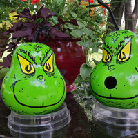 GRINCH Hand Painted Gourd Birdhouse or GRINCHMaS DECoRATION Table Centerpiece Your Choice! READY To SHiP!!! Designs by Sugarbear