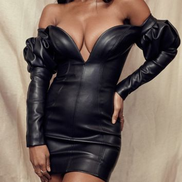 Hot style PU leather back zipper chest V sexy hip wrap dress