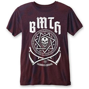 Bring Me The Horizon 'Crooked Young (Navy Red)' Burnout T Shirt NEW Cotton Tee Shirt Loose Size Top Ajax|T-Shirts