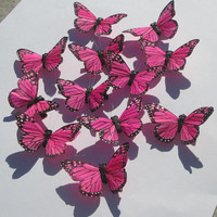 Butterfly Hair Clips pink and black Monarch feather butterfly hand made hair clips by Ziporgiabella
