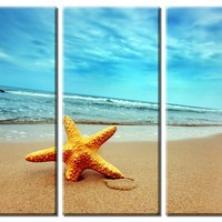 Picture Sensations Framed Huge 3-Panel Summer Starfish Beach Giclee Canvas Art