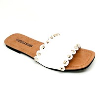Women's White Scalloped Edge Slip On Sandal
