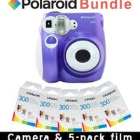 Polaroid PIC-300P Instant Camera in Purple + 5 PACK OF FILM PAPER