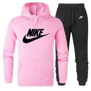 NIKE Autumn Winter Fashion Women Men Casual Hoodie Top Sweater Pants Trousers Set Two-Piece Pink