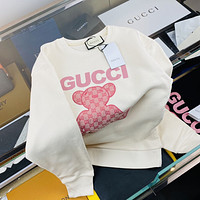 [Gucci] 2021 new style chest Embroidered Pink Bear logo couple round neck sweater