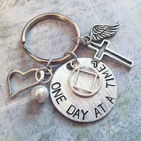 One Day At A Time Sobriety NA Keychain - NA Keyrings - Recovery Accessories - Sobriety Accessories