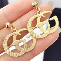 GUCCI New fashion snake letter long earring Golden