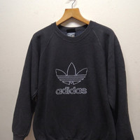 25% SALES ALERT Vintage 90's Adidas Big Logo Sweatshirt Pull Over Sport Sweater Hip Hop Street Wear Size M