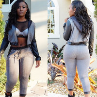 Grey Hooded Faux Sleeve Cropped Sweatshirt and Pants Suit
