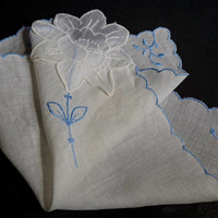 Vintage White Hanky with Appliquéd Flower & Blue Embroidery,Wedding Hankies, Bridesmaid Gift,Flower Girl Hanky,Vintage Linens,Something Blue
