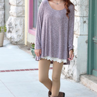 Colder Weather Chic Ribbed Lace Trim Tunic {Burgundy}
