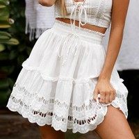 A-line high waist women skirt white Embroidery cotton mini skirts Casual loose ruffle beach skirt female