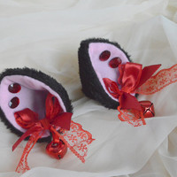Black and red clip on cat ears with earrings - neko vampire lolita cosplay costume - kitten play accessories