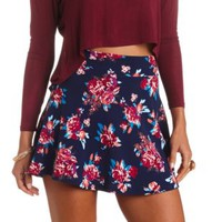 High-Waisted Floral Print Skater Skirt - Navy Combo