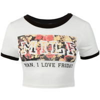 Womens Trendy Fun Letter Print Short Sleeve Round Neck Crop Top Tee